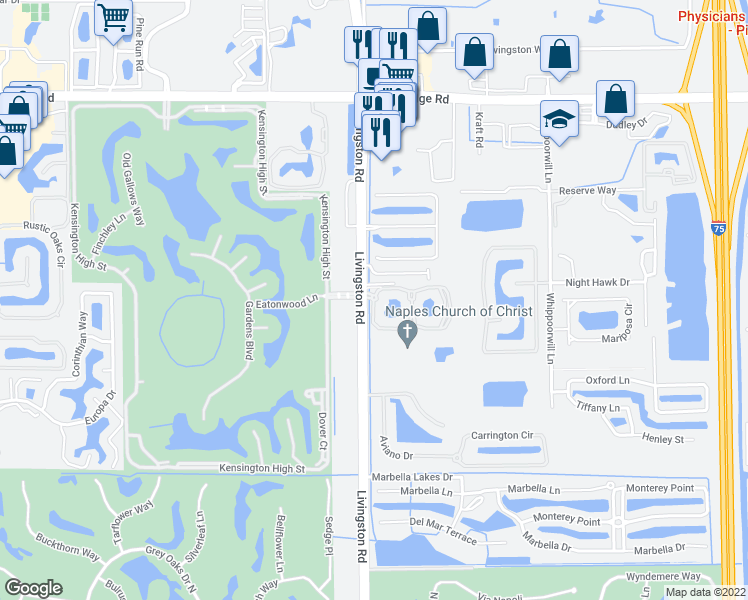 map of restaurants, bars, coffee shops, grocery stores, and more near 13039 Livingston Rd in Naples