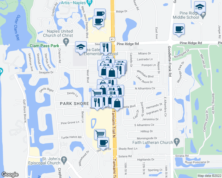 map of restaurants, bars, coffee shops, grocery stores, and more near 4805 Tamiami Trail North in Naples