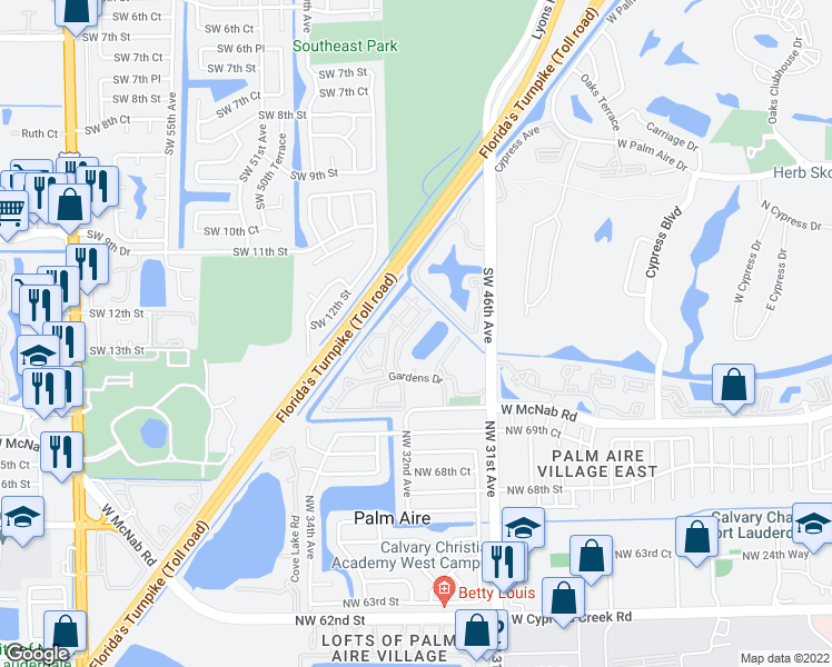 map of restaurants, bars, coffee shops, grocery stores, and more near 631-723 Gardens Dr in Pompano Beach