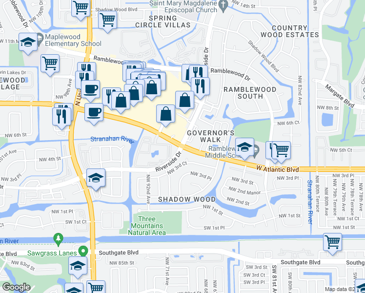 map of restaurants, bars, coffee shops, grocery stores, and more near 700 Riverside Drive in Coral Springs
