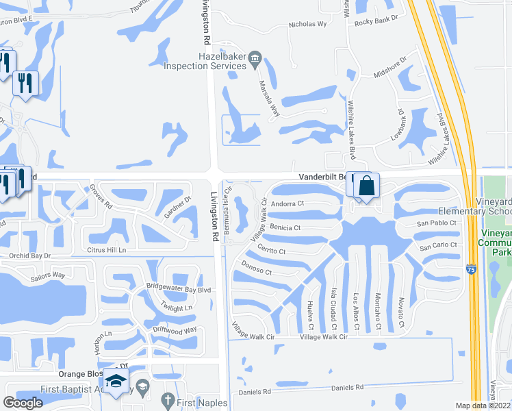 map of restaurants, bars, coffee shops, grocery stores, and more near Village Walk Circle in Naples