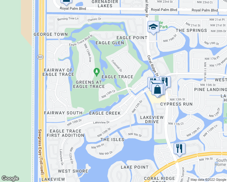 map of restaurants, bars, coffee shops, grocery stores, and more near 12130-12136 Northwest 15th Court in Coral Springs