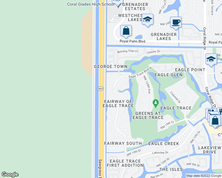 map of restaurants, bars, coffee shops, grocery stores, and more near 12715 Northwest 18th Court in Coral Springs