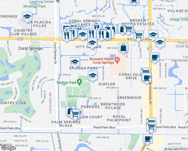 map of restaurants, bars, coffee shops, grocery stores, and more near 10008-10026 Northwest 29th Street in Coral Springs