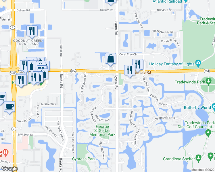 map of restaurants, bars, coffee shops, grocery stores, and more near 4079 Cocoplum Cir in Coconut Creek