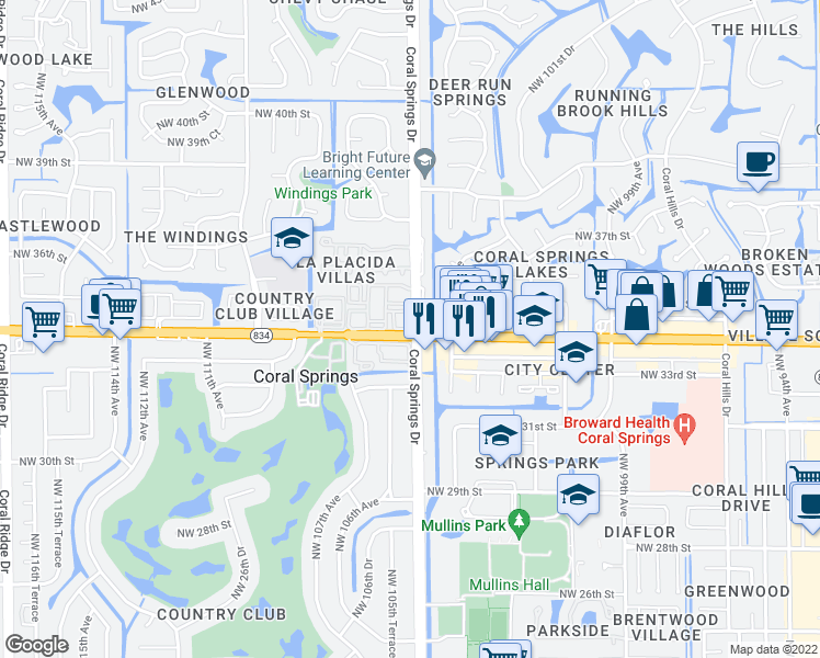 map of restaurants, bars, coffee shops, grocery stores, and more near 10500-10624 Northwest 34th Street in Coral Springs