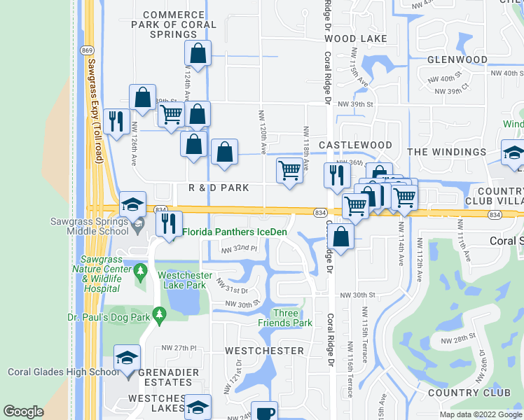 map of restaurants, bars, coffee shops, grocery stores, and more near 11850-11930 W Sample Rd in Coral Springs