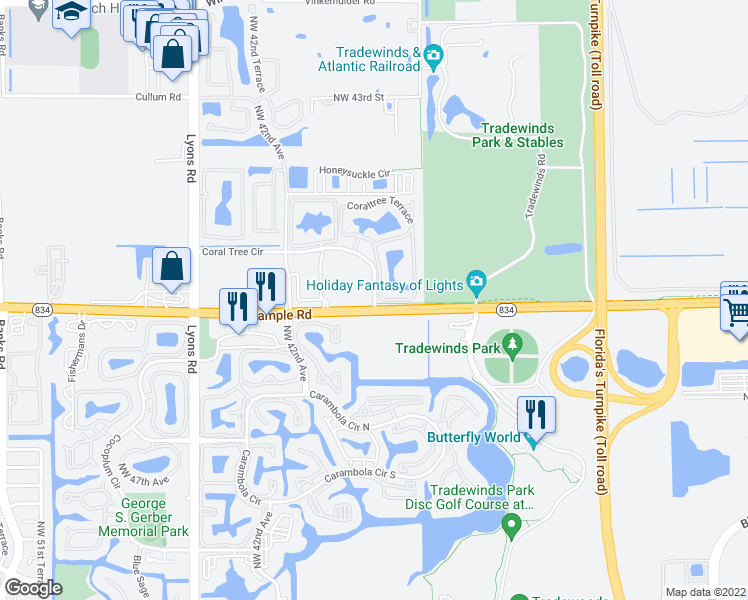 map of restaurants, bars, coffee shops, grocery stores, and more near None in Coconut Creek
