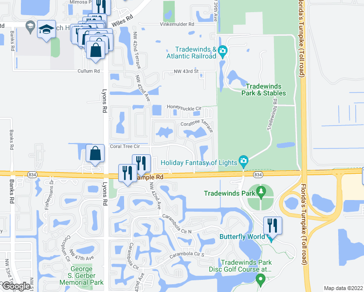 map of restaurants, bars, coffee shops, grocery stores, and more near Coraltree Terrace in Coconut Creek