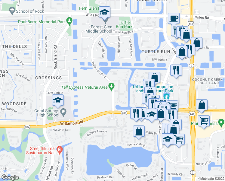map of restaurants, bars, coffee shops, grocery stores, and more near 3715 Turtle Run Boulevard in Coral Springs