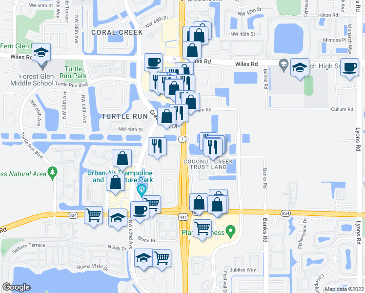 map of restaurants, bars, coffee shops, grocery stores, and more near 3913-4163 Highway 7 in Pompano Beach
