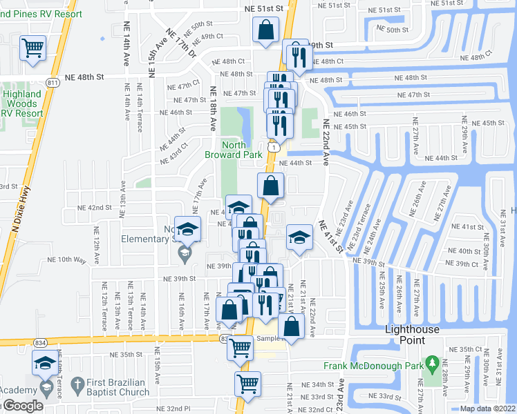map of restaurants, bars, coffee shops, grocery stores, and more near 4201 North Federal Highway in Pompano Beach