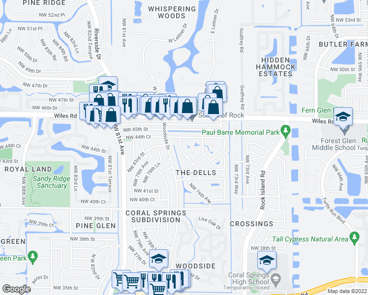 map of restaurants, bars, coffee shops, grocery stores, and more near 4326 NW 76th Ave in Coral Springs