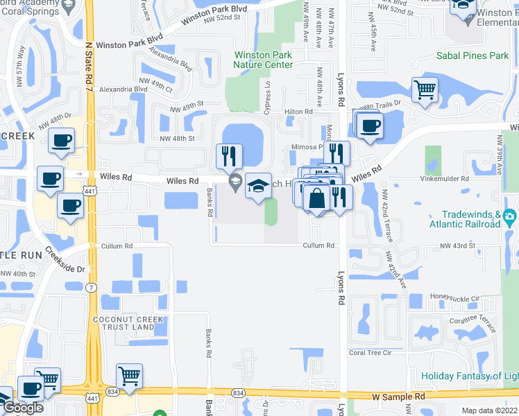 map of restaurants, bars, coffee shops, grocery stores, and more near 5050 Wiles Road in Coconut Creek