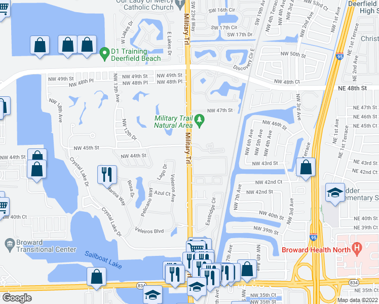 map of restaurants, bars, coffee shops, grocery stores, and more near 4490-4498 Military Trail in Pompano Beach
