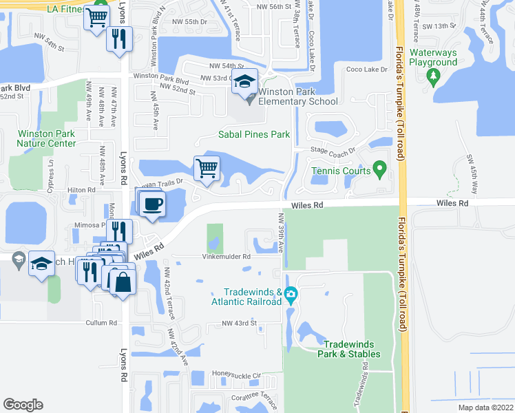 map of restaurants, bars, coffee shops, grocery stores, and more near 3901-3915 Wiles Road in Coconut Creek