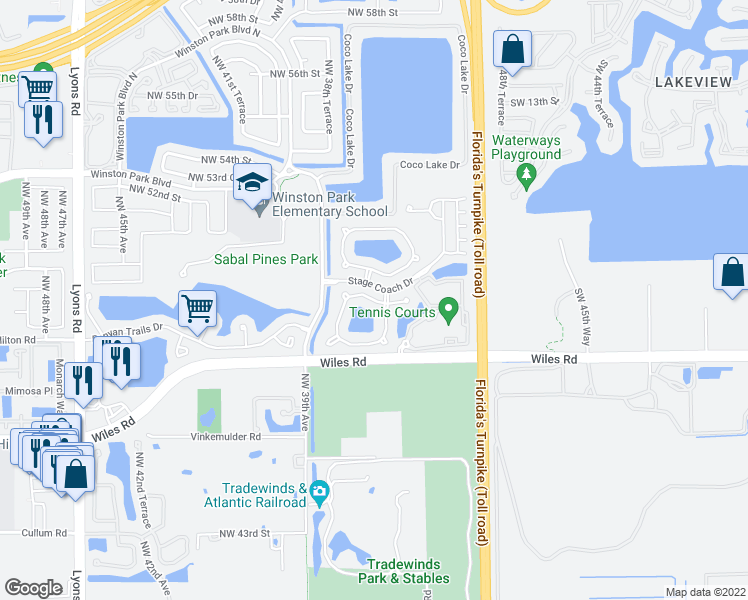 map of restaurants, bars, coffee shops, grocery stores, and more near 5031 Pebblebrook Terrace in Coconut Creek