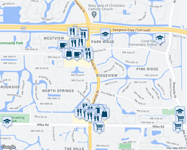 map of restaurants, bars, coffee shops, grocery stores, and more near 5250 Northwest 95th Avenue in Coral Springs
