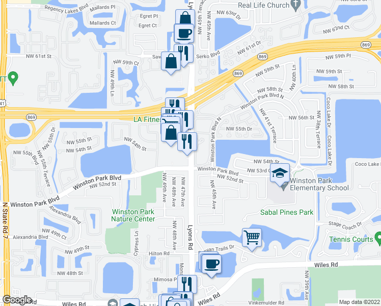 map of restaurants, bars, coffee shops, grocery stores, and more near 6303-6317 Lyons Road in Coconut Creek