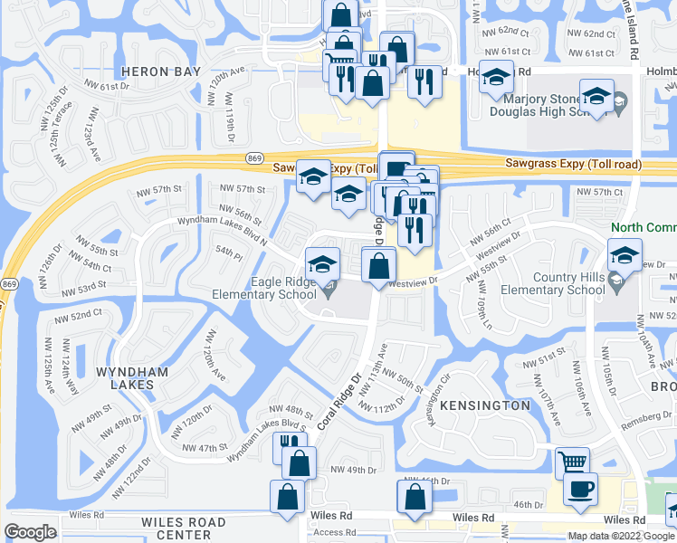 map of restaurants, bars, coffee shops, grocery stores, and more near 11549-11599 Westview Drive in Coral Springs