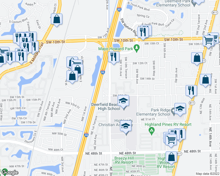 map of restaurants, bars, coffee shops, grocery stores, and more near 1460-1484 FAU Research Park Boulevard in Deerfield Beach