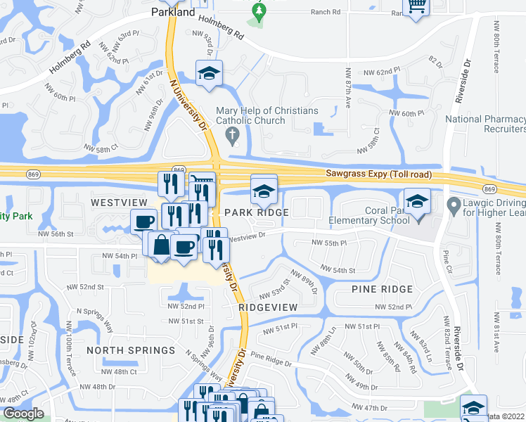 map of restaurants, bars, coffee shops, grocery stores, and more near 9001 Westview Dr in Coral Springs