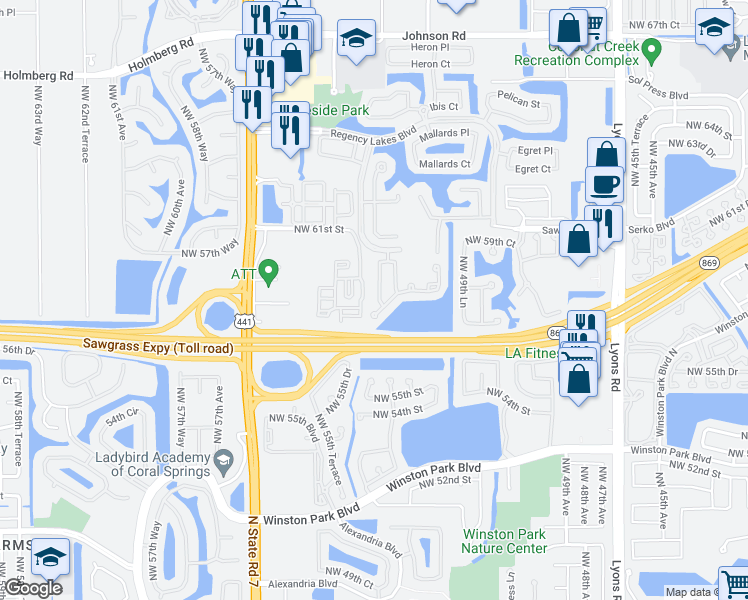 map of restaurants, bars, coffee shops, grocery stores, and more near 5620 Northwest 61st Street in Coconut Creek