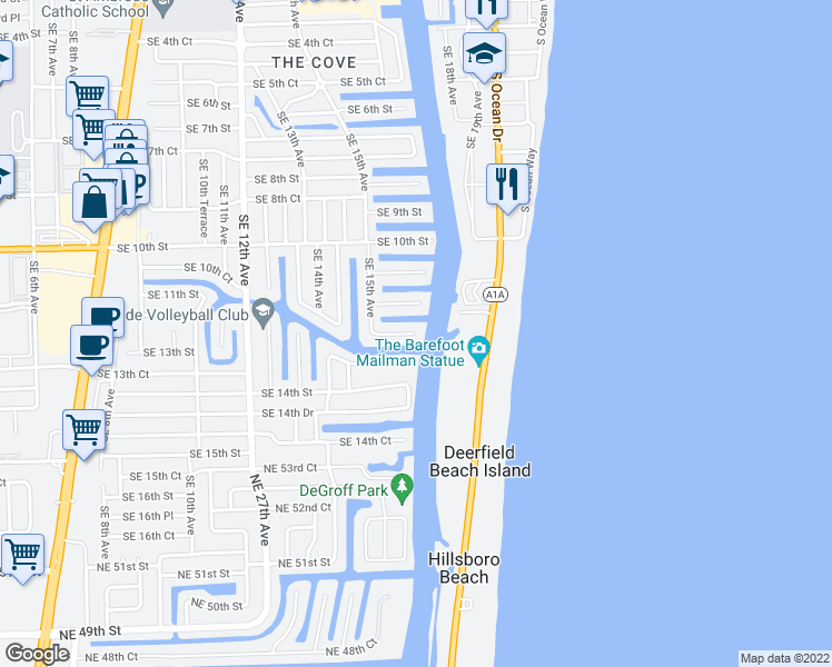 map of restaurants, bars, coffee shops, grocery stores, and more near 1543 Southeast 12th Court in Deerfield Beach