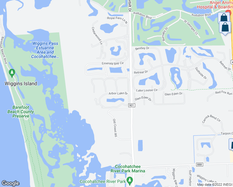 map of restaurants, bars, coffee shops, grocery stores, and more near 309 Arbor Lake Drive in Naples