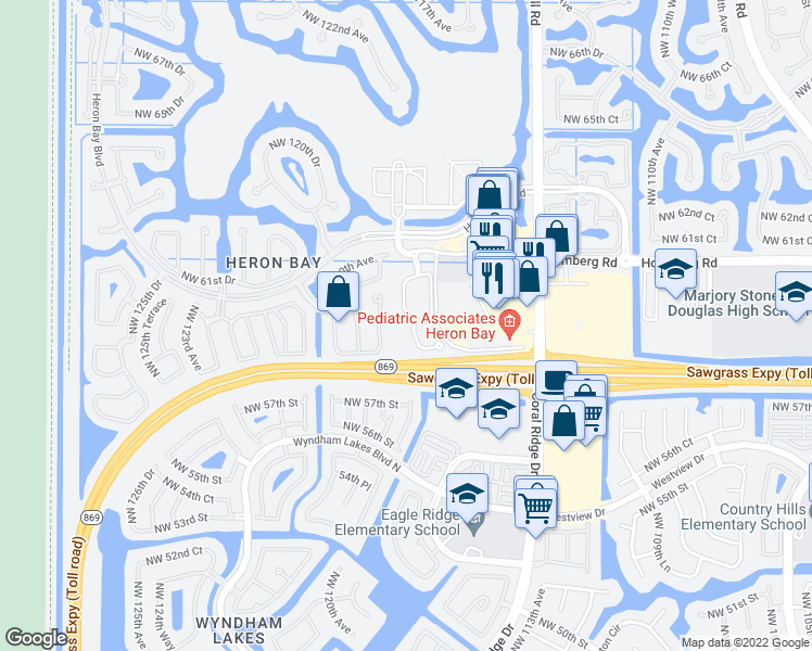 map of restaurants, bars, coffee shops, grocery stores, and more near 5748 Northwest 119th Terrace in Coral Springs