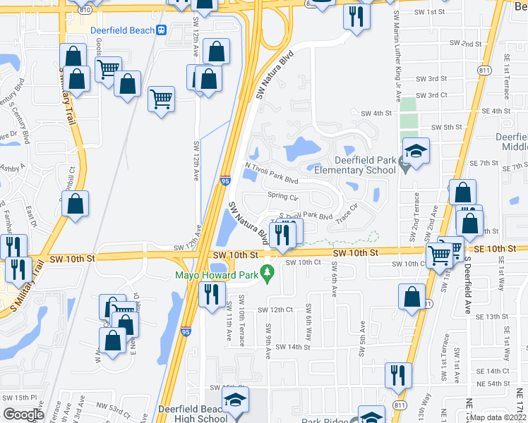 map of restaurants, bars, coffee shops, grocery stores, and more near 993 Spring Circle in Deerfield Beach
