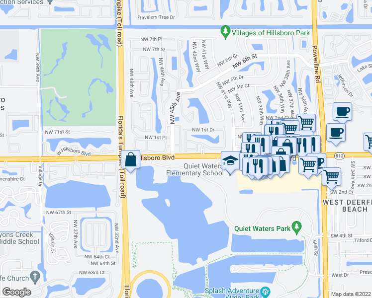 map of restaurants, bars, coffee shops, grocery stores, and more near 4332-4398 Northwest 1st Place in Deerfield Beach