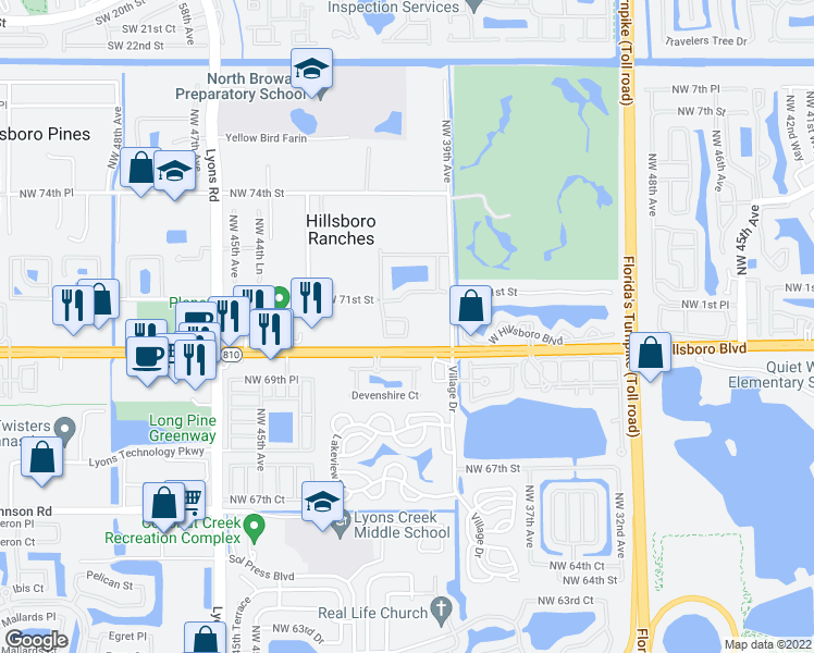 map of restaurants, bars, coffee shops, grocery stores, and more near 4039 Crescent Creek Ct in Coconut Creek