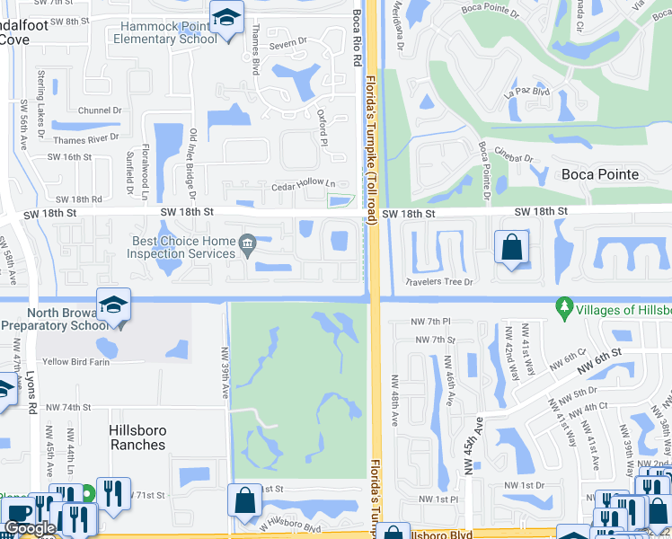 map of restaurants, bars, coffee shops, grocery stores, and more near 8137 Country Park Drive in Boca Raton