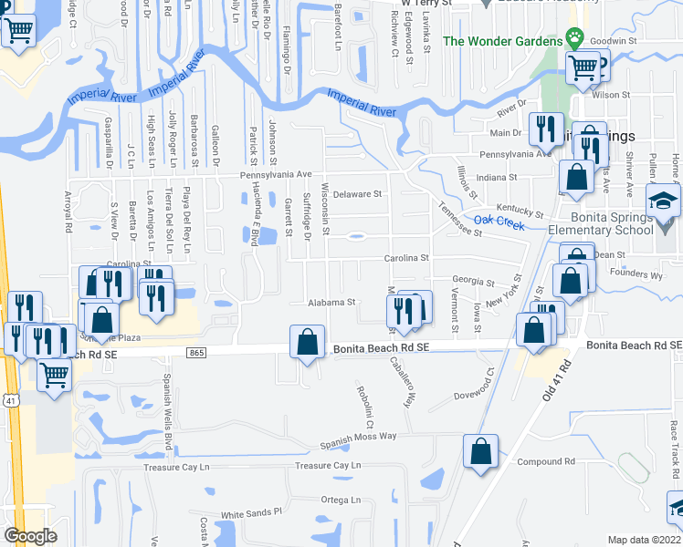 map of restaurants, bars, coffee shops, grocery stores, and more near 27802 Pension Place in Bonita Springs