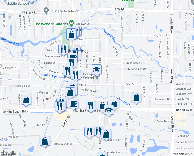 map of restaurants, bars, coffee shops, grocery stores, and more near 10701 Dean Street in Bonita Springs