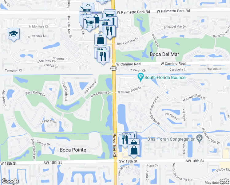 map of restaurants, bars, coffee shops, grocery stores, and more near Powerline Rd & N Canary Palm Dr in Boca Raton