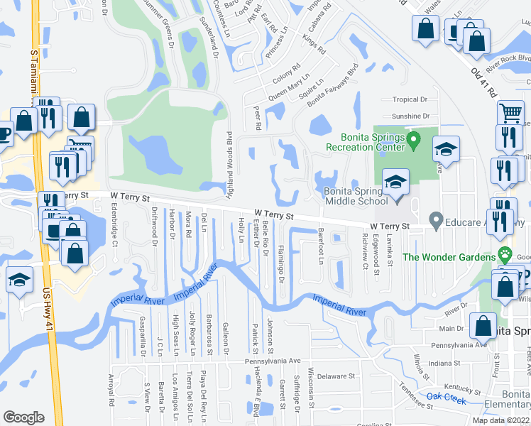 map of restaurants, bars, coffee shops, grocery stores, and more near W Terry St & Belle Rio Dr in Bonita Springs