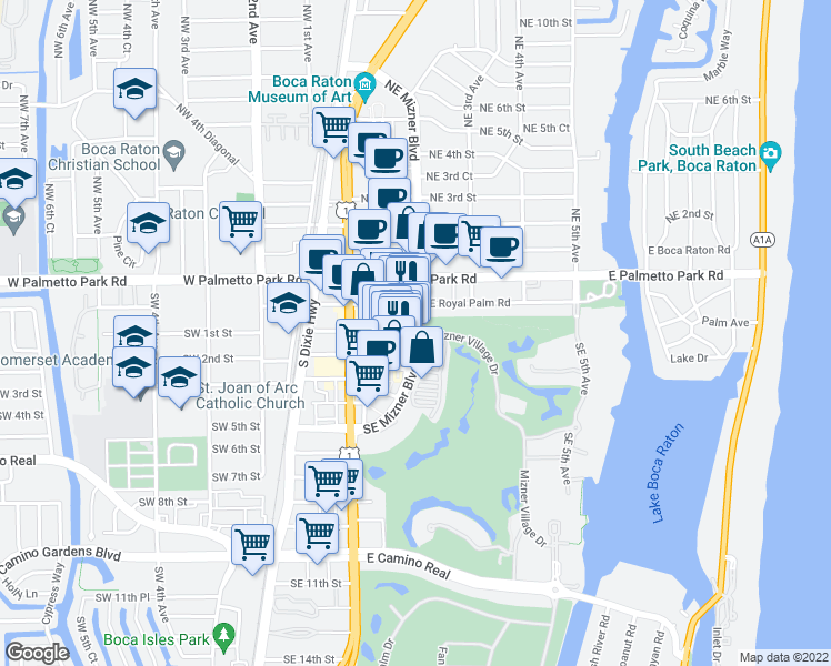 map of restaurants, bars, coffee shops, grocery stores, and more near 145 SE Mizner Blvd in Boca Raton