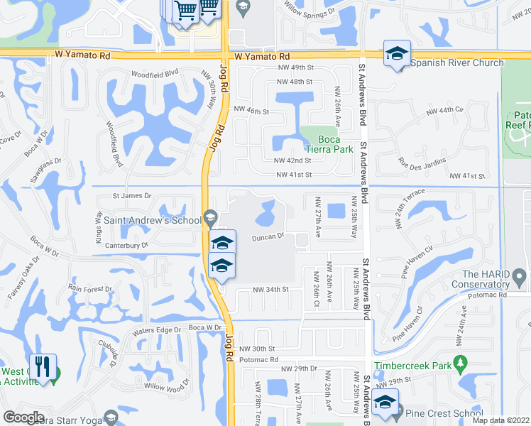 map of restaurants, bars, coffee shops, grocery stores, and more near 2801-3915 Duncan Dr in Boca Raton