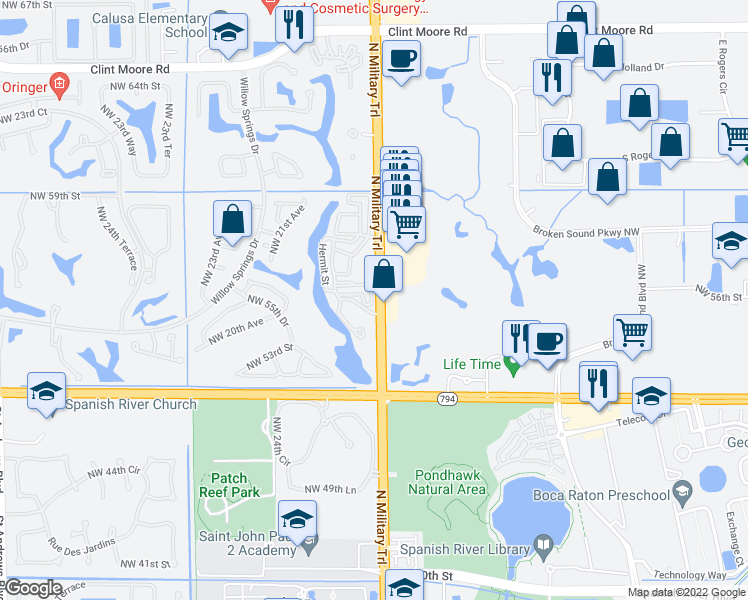 map of restaurants, bars, coffee shops, grocery stores, and more near 5740-6048 North Military Trail in Boca Raton
