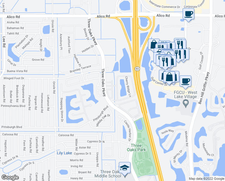 map of restaurants, bars, coffee shops, grocery stores, and more near Windy Hollow Drive in Fort Myers