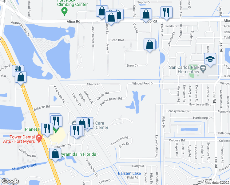 map of restaurants, bars, coffee shops, grocery stores, and more near 7561 Carrier Road in Fort Myers