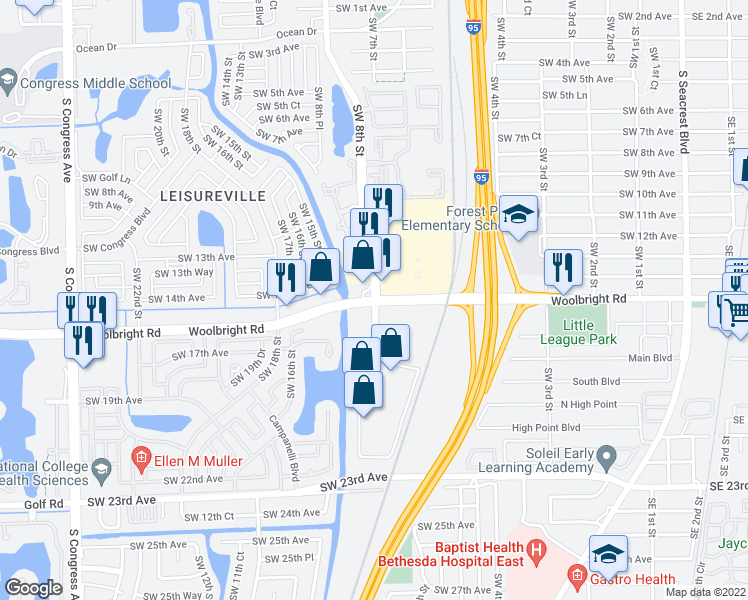 map of restaurants, bars, coffee shops, grocery stores, and more near W Woolbright Rd & SW 8th St in Boynton Beach