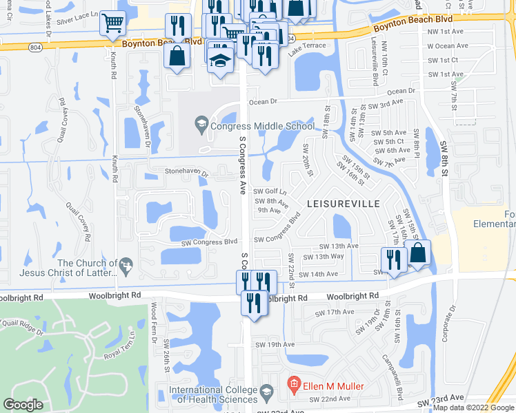 map of restaurants, bars, coffee shops, grocery stores, and more near 2396 SW 8th Ave in Boynton Beach