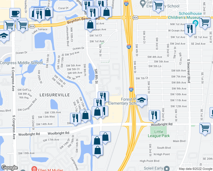 map of restaurants, bars, coffee shops, grocery stores, and more near 280 Newlake Drive in Boynton Beach