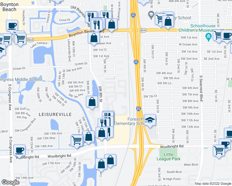map of restaurants, bars, coffee shops, grocery stores, and more near New Lake Dr in Boynton Beach