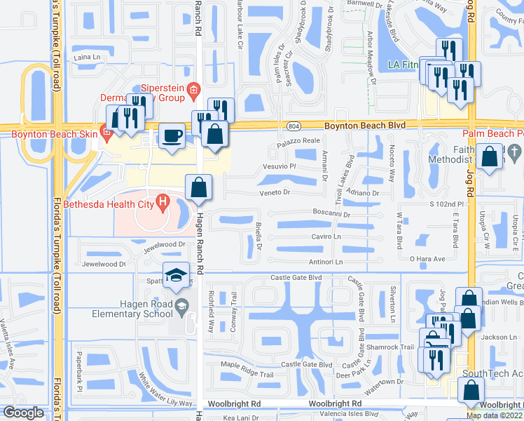 map of restaurants, bars, coffee shops, grocery stores, and more near 7199 Boscanni Drive in Boynton Beach