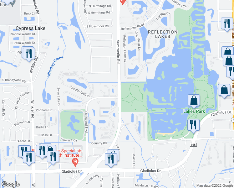 map of restaurants, bars, coffee shops, grocery stores, and more near Summerlin Trace Ct in Cypress Lake