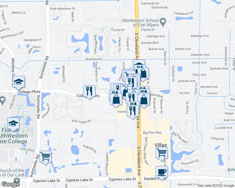 map of restaurants, bars, coffee shops, grocery stores, and more near College Pkwy & Kenwood Ln in Villas
